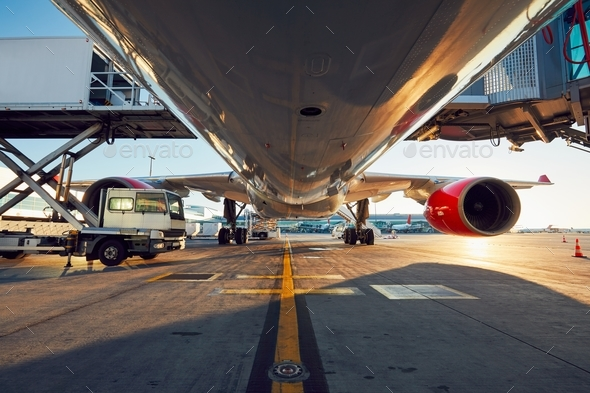 Low angle view of the airplane - Stock Photo - Images