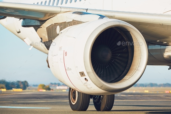 Engine of the airplane - Stock Photo - Images