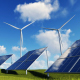 Wind Turbines and Solar Panels on Green Field - VideoHive Item for Sale