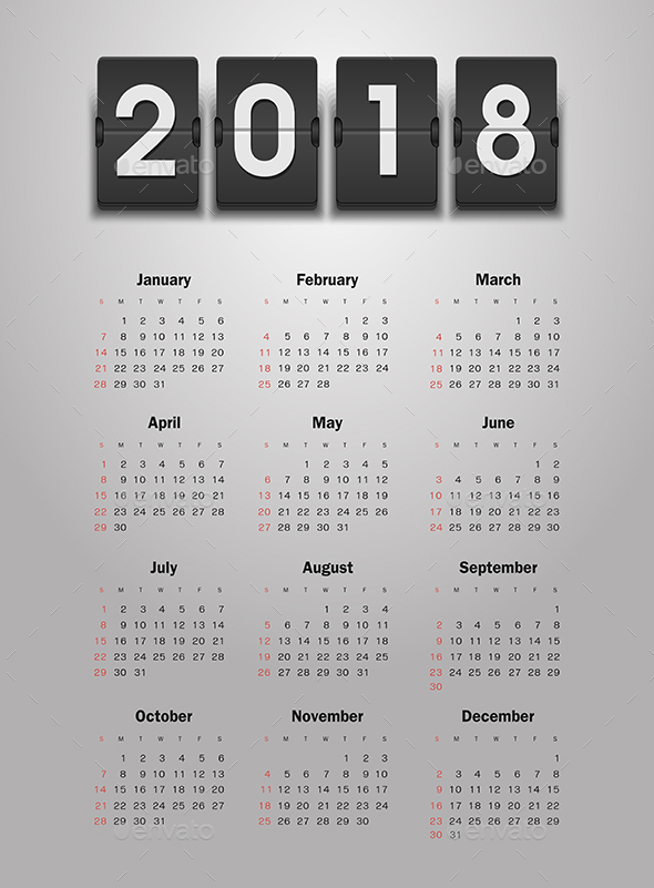 Calendar 2018 Year - Miscellaneous Vectors