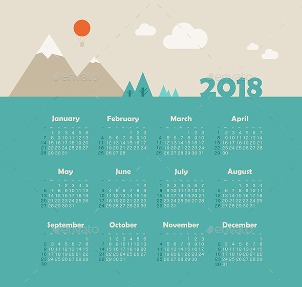Calendar 2018 Year with Mountain Landscape