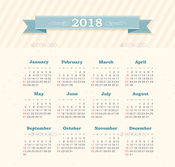 Vector Calendar 2018 year. Week Starts Sunday