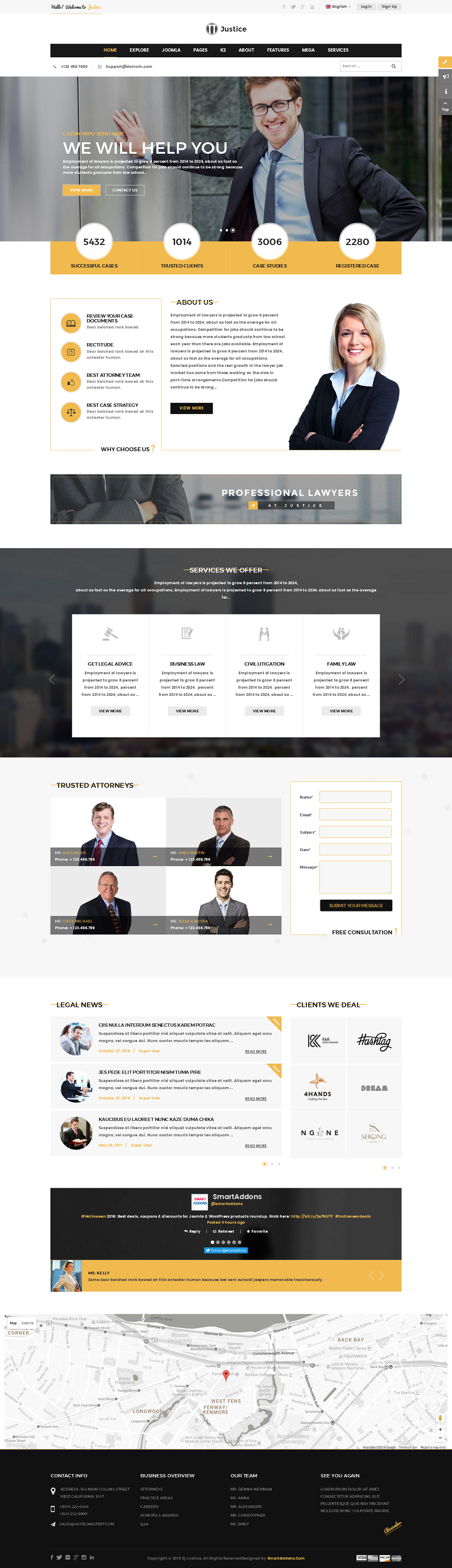 Justice Attorney And Law Firm Joomla Template By SmartAddons - Lawyer website template