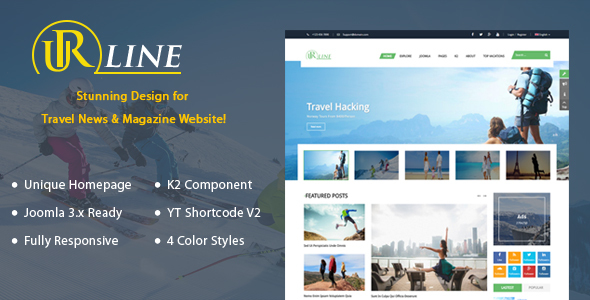 Urline - Responsive Travel News Joomla Template - News / Editorial Blog / Magazine