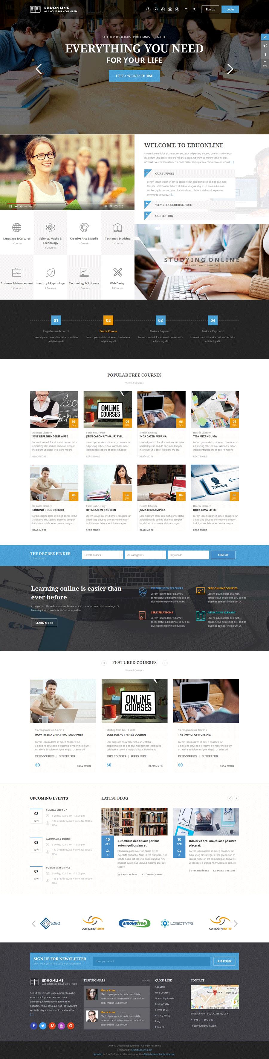 eduonline education university joomla template by smartaddons