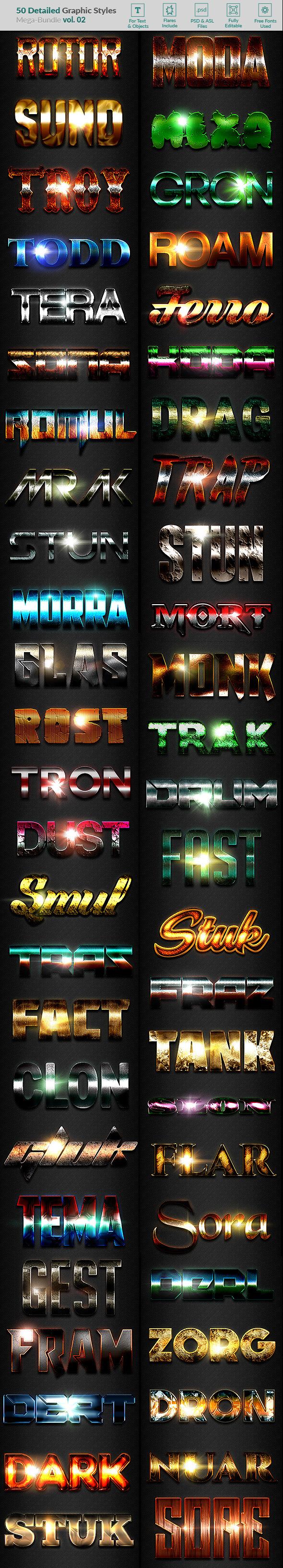 50 Text Effects - Bundle Vol. 02 - Styles Photoshop