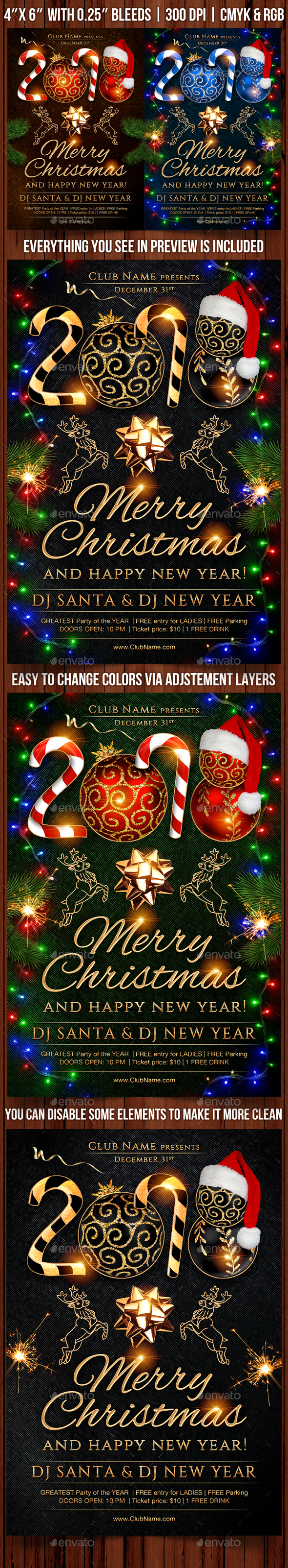 Christmas and New Year Party Flyer Template