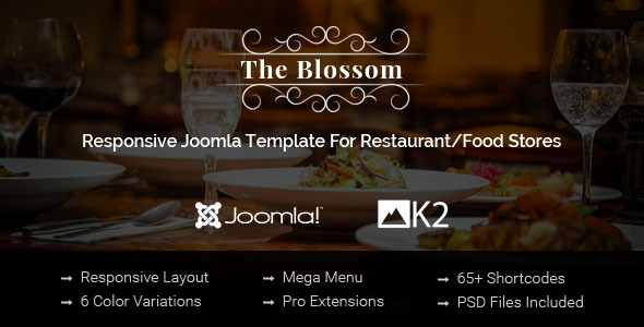 Blossom - Responsive Joomla Template For Restaurant/Food stores - Restaurants & Cafes Entertainment