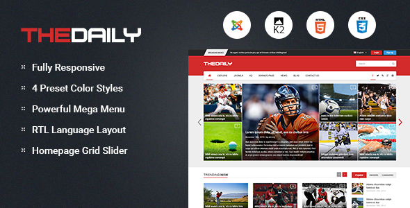TheDaily - Responsive News Portal Joomla Template - News / Editorial Blog / Magazine