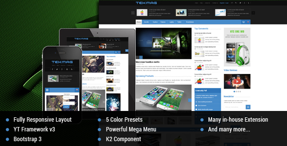 Tekmag -  Technology News/Magazine Joomla Template - News / Editorial Blog / Magazine