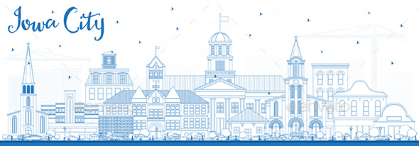Outline Iowa City Skyline with Blue Buildings. - Buildings Objects
