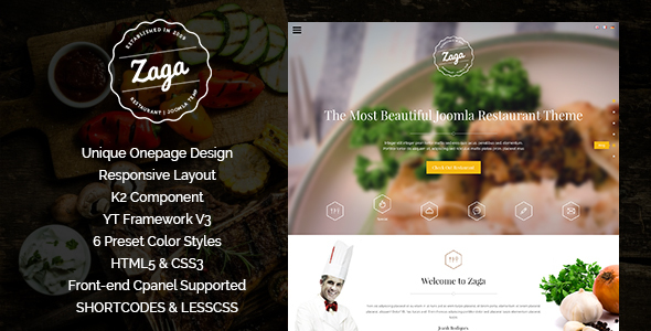 Zaga - Responsive Onepage Restaurant Template - Restaurants & Cafes Entertainment