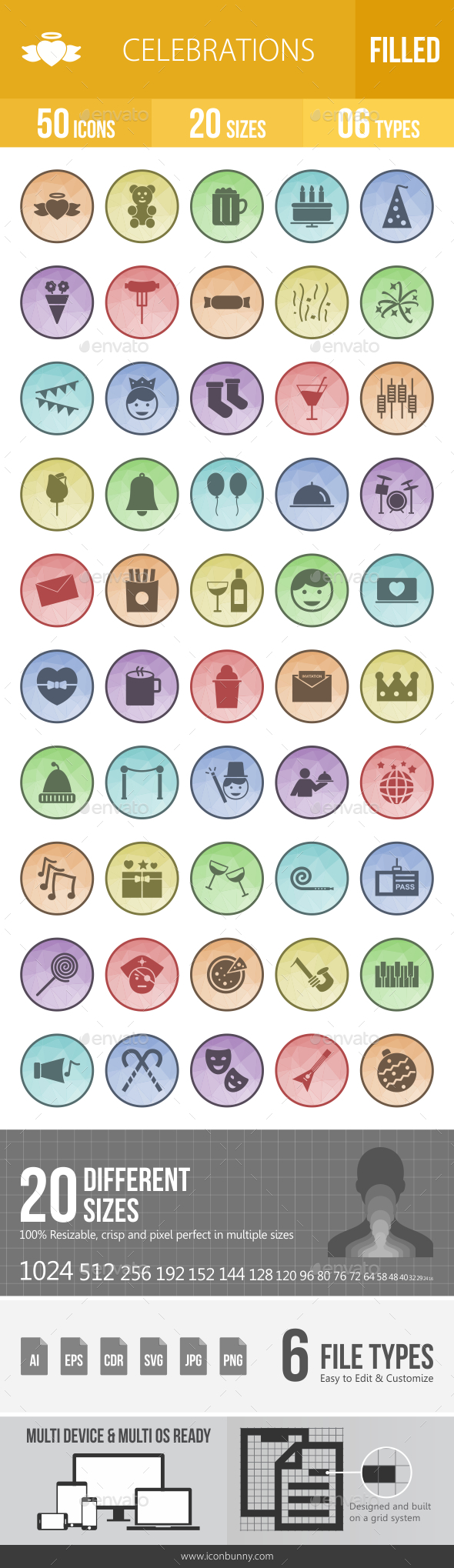 Celebrations Filled Low Poly B/G Icons - Icons