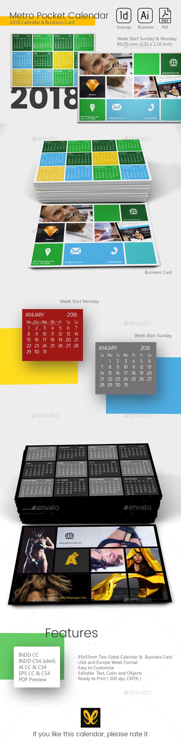 Pocket Calendar 2018 - Metro Style - Calendars Stationery
