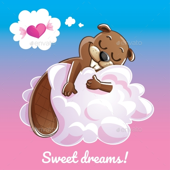 GraphicRiver Greeting Card with a Cartoon Beaver on the Cloud 20909076