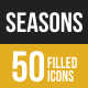 Seasons Filled Low Poly B/G Icons