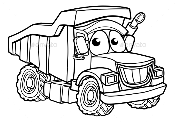 GraphicRiver Cartoon Character Dump Truck 20909269