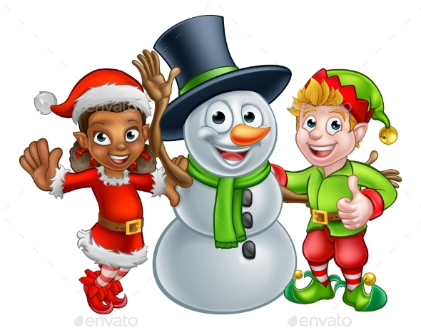 Christmas Elf Santas Helpers and Snowman - Christmas Seasons/Holidays