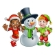 Christmas Elf Santas Helpers and Snowman