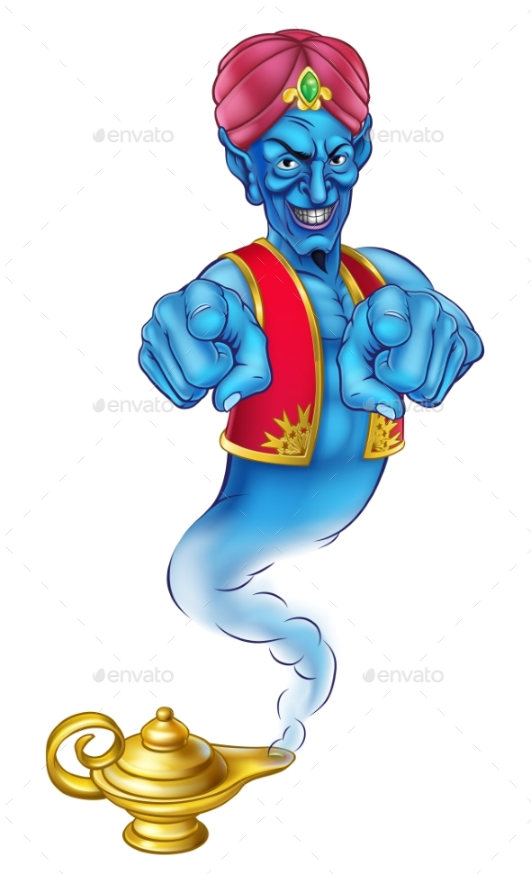 Cartoon Evil Genie Pointing - Miscellaneous Characters
