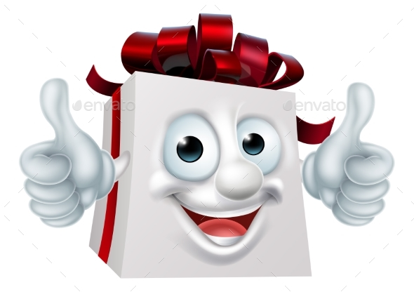 Gift Present Cartoon Character - Christmas Seasons/Holidays