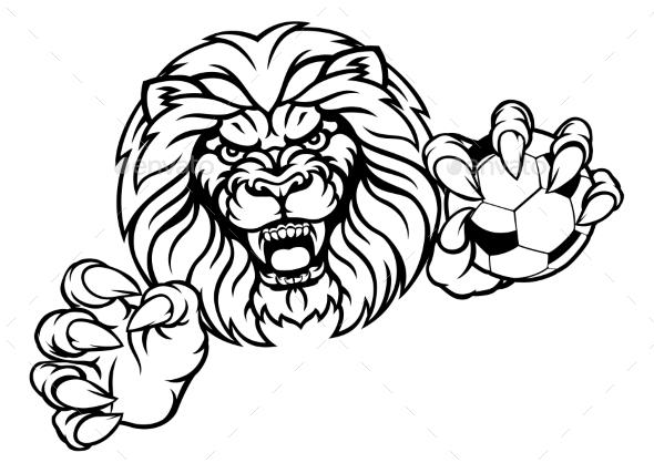 Lion Soccer Ball Sports Mascot - Sports/Activity Conceptual