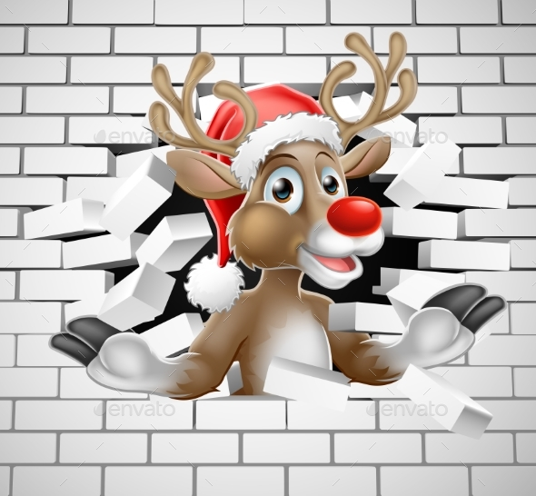 Reindeer in Santa Hat Cartoon Breaking Brick Wall - Christmas Seasons/Holidays