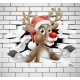 Reindeer in Santa Hat Cartoon Breaking Brick Wall