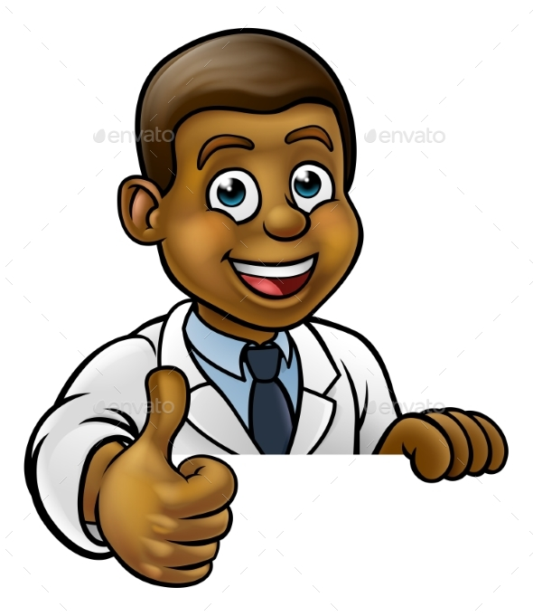 GraphicRiver Thumbs Up Scientist Cartoon Character Sign 20909327