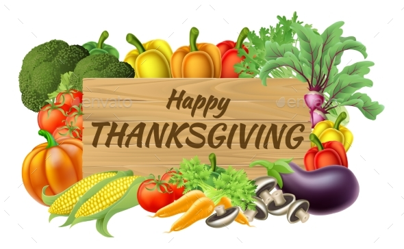 Thanksgiving Fruits and Vegetable Produce Sign