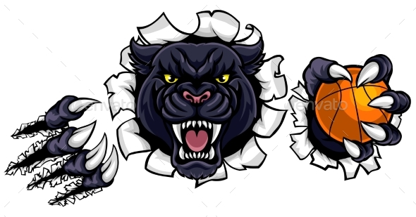 GraphicRiver Black Panther Basketball Mascot 20909359