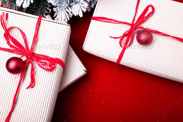 Christmas gift box.  - Stock Photo - Images