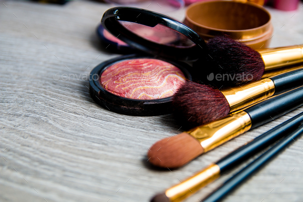 Set of decorative cosmetics and brushes - Stock Photo - Images