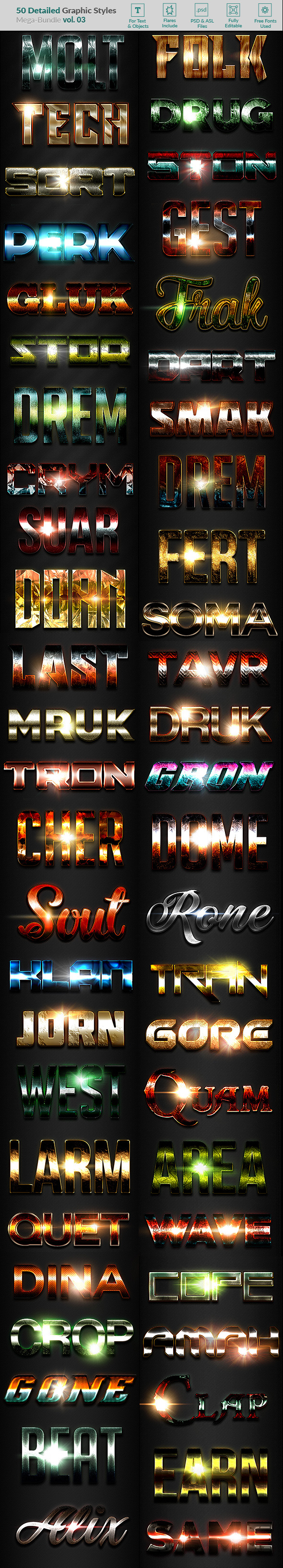 GraphicRiver 50 Text Effects Bundle Vol 03 20909445