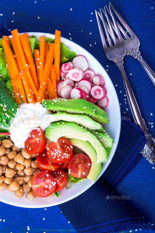 Vegan buddha bowl. Vegetarian, healthy, detox food concept. - Stock Photo - Images