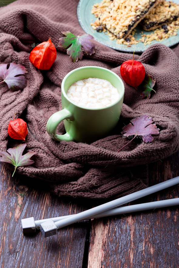 Cup of coffee or hot chocolate with marshmallow  - Stock Photo - Images