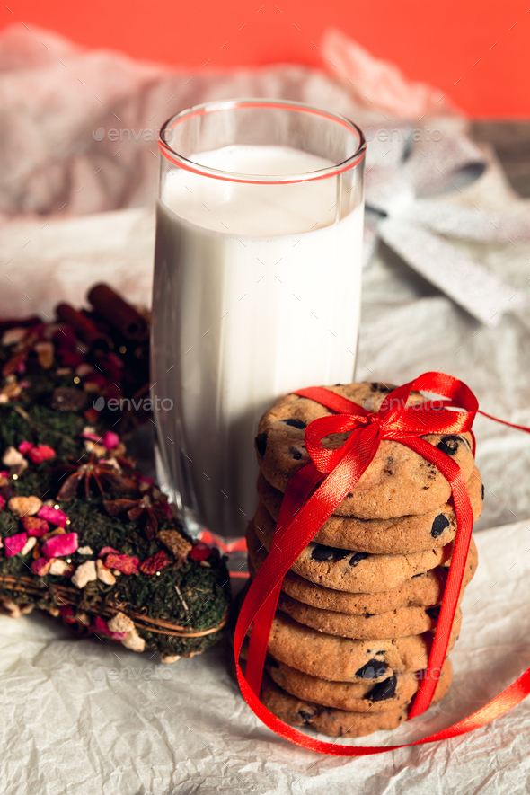 Milk And Cookies On White Background For Santa Claus Christmas Decoration New Year