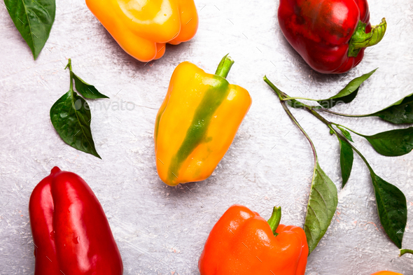 Red, Orange and Yellow Bell Peppers  - Stock Photo - Images