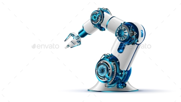 Robotic Arm 3D on White Background - Industries Business