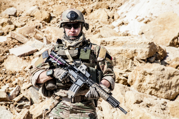 Army ranger in the mountains - Stock Photo - Images