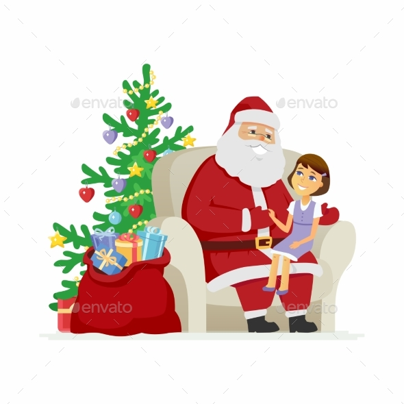 Santa and a Girl - Christmas Seasons/Holidays