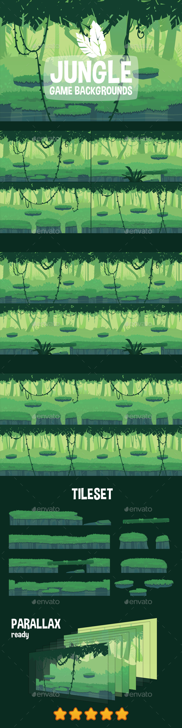 Parallax Jungle 2D Backgrounds - Backgrounds Game Assets