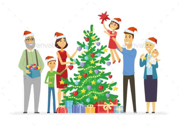 Happy Family Decorates Christmas Tree - Christmas Seasons/Holidays