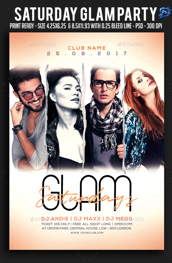 Saturday Glam Party Flyer - Clubs & Parties Events