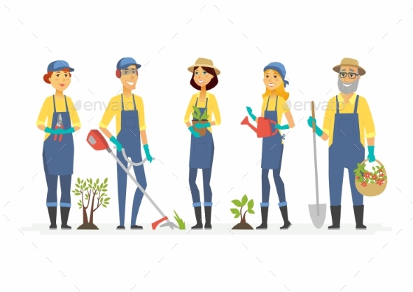 Gardeners with Tools - People Characters