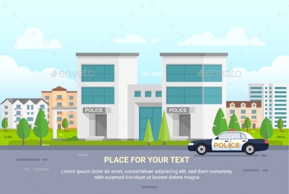 GraphicRiver City Police Station with Place for Text 20910000