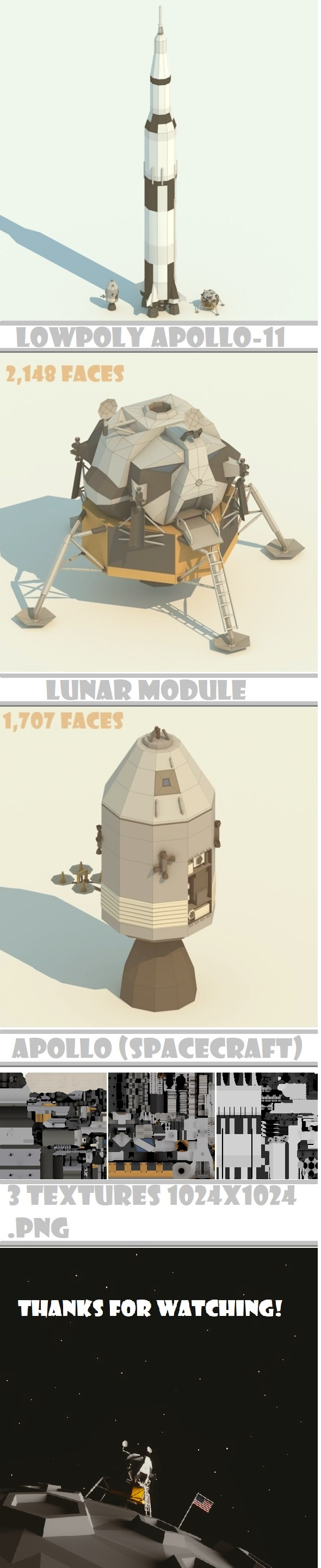 3DOcean Apollo-11 LowPoly models pack 20904970