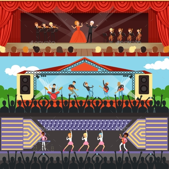 Concerts Set with Musicians and Artists Characters - Miscellaneous Vectors