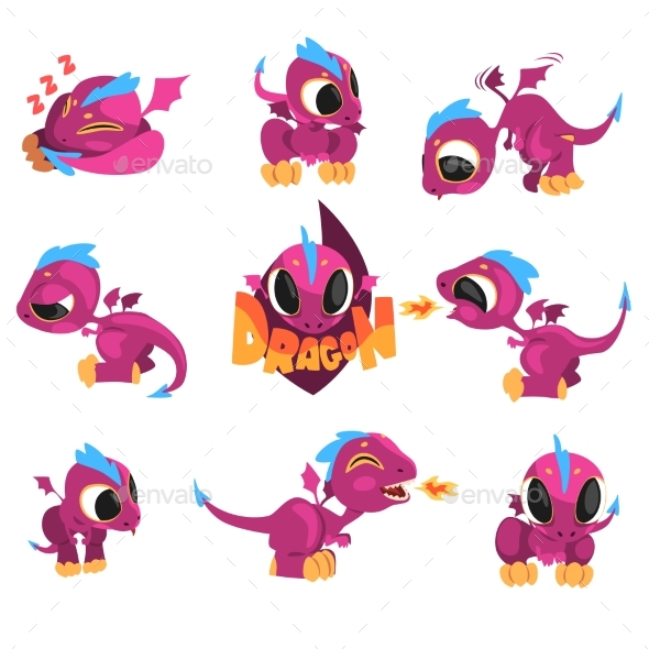 GraphicRiver Collection of Cartoon Baby Dragon for Game Design 20910220