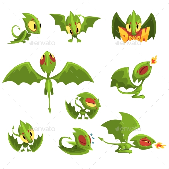 Set of Cartoon Green Baby Dragon Character  - Animals Characters